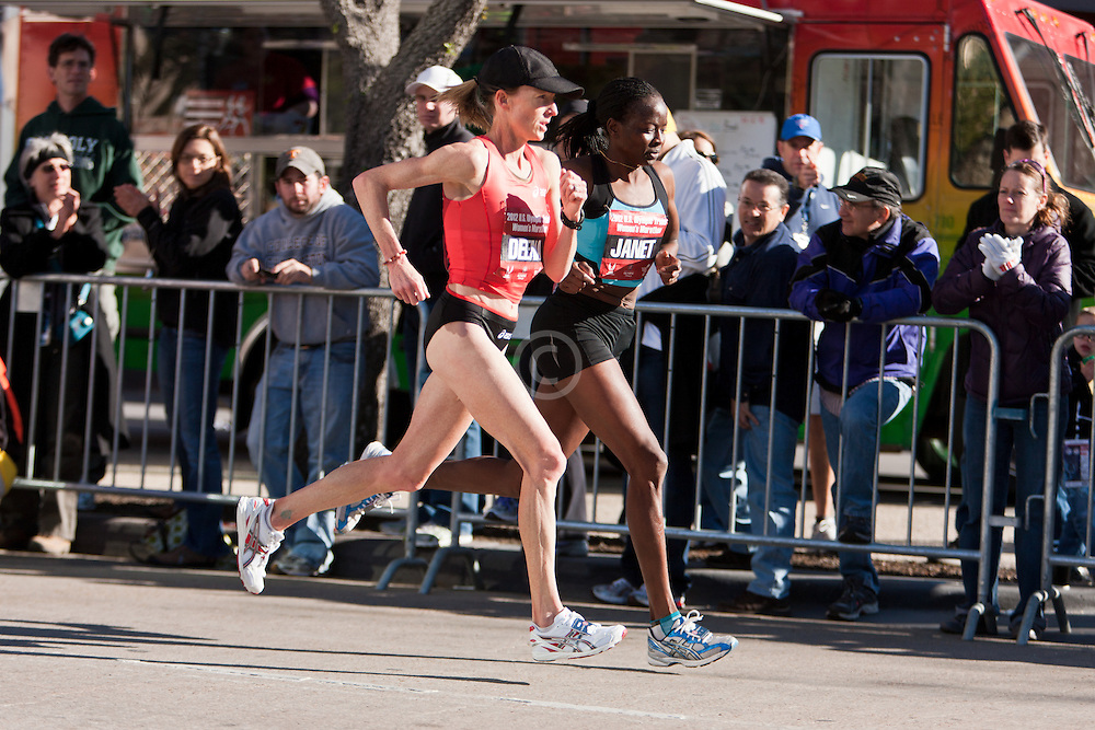 Deena Kastor and Janet Cherobon-Bawcom neck-and-neck with 8 miles to go in women' marathon