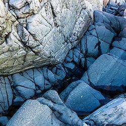 Basalt dike in thpe rocks on the shoreline of Wallis Sands State Park in Rye, New Hampshire.