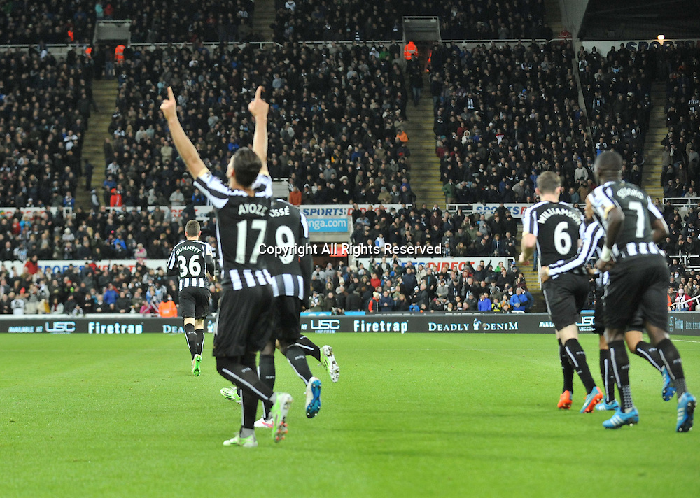 28.12.2014. Newcastle, England. Premier League. Newcastle versus Everton. Ayoze Perez of Newcastle United celebrates scoring