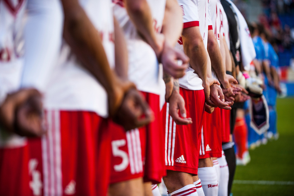 HARRISON, NJ - MAY 08: A general view of members of the New York Red Bulls standing for the National Anthem before the game against the Montreal Impact at Red Bulls Arena on May 8, 2013. (Photo By: Rob Tringali)