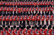 Guardsmen marching during the Trooping the Colour ceremony, Horseguards Parade, Whitehall, London