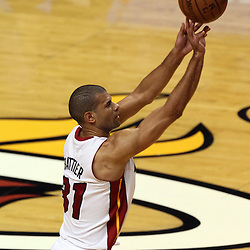 Jun 21, 2012; Miami, FL, USA; Miami Heat small forward Shane Battier (31) shoots a three point shot against the Oklahoma City Thunder during the first quarter in game five in the 2012 NBA Finals at the American Airlines Arena. Mandatory Credit: Derick E. Hingle-US PRESSWIRE