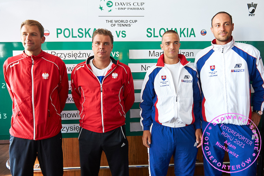 (L-R) Lukasz Kubot and Marcin Matkowski both from Poland and Andrej Martin and Igor Zelenay both of Slovakia during official draw one day before Davis Cup Tie World Group Play-off Poland v Slovakia at Mondo di Vinegre Restaurant in Gdynia, Poland.<br /> <br /> Poland, Gdynia, September 17, 2015<br /> <br /> Picture also available in RAW (NEF) or TIFF format on special request.<br /> <br /> For editorial use only. Any commercial or promotional use requires permission.<br /> <br /> Adam Nurkiewicz declares that he has no rights to the image of people at the photographs of his authorship.<br /> <br /> Mandatory credit:<br /> Photo by &copy; Adam Nurkiewicz / Mediasport