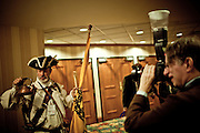 A man identifying himself as a member of the Tea Party is interviewed at the Conservative Political Action Conference in Washington, DC on February 18, 2010.