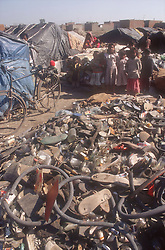 Pile of rubber; plastic and glass for recycling at shanty town on outskirts of Gobindigarh; Punjab; India,