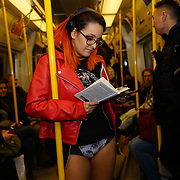 No Trousers Tube Ride (No Pants Subway Ride) on 7th January 2018 in London The Annual 'No Trousers Tube Ride' or 'No Pants Subway Ride' took place in London. Around two hundred participants arrived at the meeting point in Chinatown before being organised into groups and assigned stations. Once on the tube/subway trains the participants began removing their trousers/pants to being the journey trying to look as inconspicuous as possible.