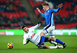 Erik Lamela of Tottenham Hotspur goes down under the challenge from Callum Camps of Rochdale - Mandatory by-line: Robbie Stephenson/JMP - 28/02/2018 - FOOTBALL - Wembley Stadium - London, England - Tottenham Hotspur v Rochdale - Emirates FA Cup fifth round proper