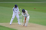 Stephen Eskinazi of Middlesex is bowled by Sean Ervine of Hampshire during the Specsavers County Champ Div 1 match between Hampshire County Cricket Club and Middlesex County Cricket Club at the Ageas Bowl, Southampton, United Kingdom on 14 April 2017. Photo by David Vokes.
