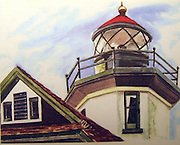 "Lighthouse. Vashon Island, WA. Watercolor. 12x16"". ©JoAnn Hawkins."