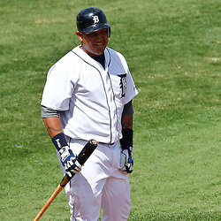 March 14, 2012; Lakeland, FL, USA; Detroit Tigers third baseman Miguel Cabrera (24) at bat during a spring training game against the New York Mets at Joker Marchant Stadium. Mandatory Credit: Derick E. Hingle-US PRESSWIRE