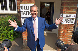 © Licensed to London News Pictures. 23/05/2019.<br /> Downe,UK. Mr Farage coming out of the polling station after casting his vote. Brexit Party leader Nigel Farage voting in the European elections at Cudham C of E primary school, Downe, Kent. Photo credit: Grant Falvey/LNP