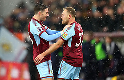 Scott Arfield of Burnley celebrates with Stephen Ward of Burnley after scoring a goal to make it 1-0 - Mandatory by-line: Robbie Stephenson/JMP - 09/12/2017 - FOOTBALL - Turf Moor - Burnley, England - Burnley v Watford - Premier League