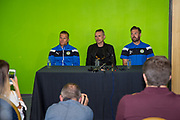 press conference with Forest Green Rovers manager, Mark Cooper, Forest Green Rovers Chairman Dale Vince, and Forest Green Rovers Scott Laird(3) during the Forest Green Rovers Photocall at the New Lawn, Forest Green, United Kingdom on 31 July 2017. Photo by Shane Healey.