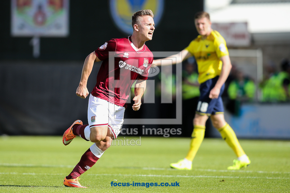 Sam Hoskins of Northampton Town (left)  celebrates after scoring scores their first goal during the Sky Bet League 2 match at Sixfields Stadium, Northampton<br /> Picture by Andy Kearns/Focus Images Ltd 0781 864 4264<br /> 12/09/2015