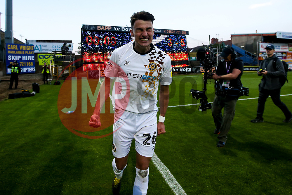 Regan Poole of Newport County celebrates after winning through to the Sky Bet League Two Playoff Final - Mandatory by-line: Robbie Stephenson/JMP - 12/05/2019 - FOOTBALL - One Call Stadium - Mansfield, England - Mansfield Town v Newport County - Sky Bet League Two Play-Off Semi-Final 2nd Leg