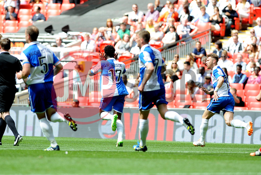 Bristol Rovers' Ellis Harrison celebrates his goal - Photo mandatory by-line: Neil Brookman/JMP - Mobile: 07966 386802 - 17/05/2015 - SPORT - football - London - Wembley Stadium - Bristol Rovers v Grimsby Town - Vanarama Conference Football