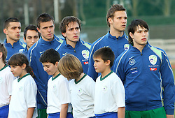 Team of Slovenia From left:  Boris Mijatovic (5), Ales Majer (2), Josip Ilicic (7), Nikola Tolimir (6), Gregor Balazic (4)  and Etien Velikonja (11) before Friendly match between U-21 National teams of Slovenia and Romania, on February 11, 2009, in Nova Gorica, Slovenia. (Photo by Vid Ponikvar / Sportida)