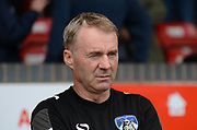 Oldham Athletic manager John Sheridan during the EFL Sky Bet League 1 match between Walsall and Oldham Athletic at the Banks's Stadium, Walsall, England on 12 August 2017. Photo by Alan Franklin.
