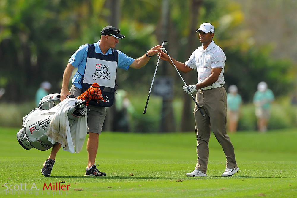 Tiger Woods and his caddie Joe LaCava during the first round of the Honda Classic at PGA National on March 1, 2012 in Palm Beach Gardens, Fla. ..©2012 Scott A. Miller.