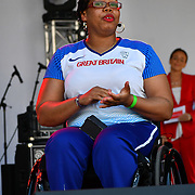 Speaker Vanessa Wallace is a British Athletics the Feast of St George to celebrate English culture with music and English food stalls in Trafalgar Square on 20 April 2019, London, UK.