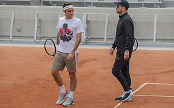 Roger Federer, Severin Luthi, training ahead the Roland Garros French Open tournament, on May 21, 2019 in Paris, France. Photo by ABACAPRESS.COM