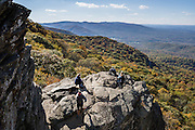 Hike to expansive views of the Shenandoah Valley on the popular Humpback Rocks Trail (2 miles round trip with 700 feet gain) from Milepost 6 on the Blue Ridge Parkway of Virginia, in the Blue Ridge Mountains (a subset of the Appalachian Mountains), USA. Optionally connect to longer loops of 3 to 7 miles, or to the 2182-mile Appalachian Trail. At adjacent Parkway Milepost 5.8, explore the restored 1890s Humpback Rocks Mountain Farm. The scenic 469-mile Blue Ridge Parkway was built 1935-1987 to aesthetically connect Shenandoah National Park (in Virginia) with Great Smoky Mountains National Park in North Carolina, following crestlines and the Appalachian Trail.
