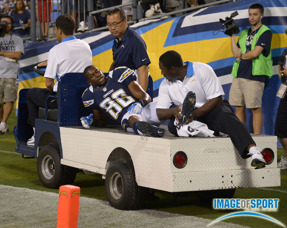 Aug 18, 2012; San Diego, CA, USA; San Diego Chargers receiver Vincent Brown (86) is taken off the field with an ankle injury during the game against the San Diego Chargers at Qualcomm Stadium. The Chargers defeated the Cowboys 28-20.