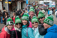 A group of Americans wear custom toques that support Marco Sullivan, and alpine skier for the 2010 Olympic Winter Games in Whistler, BC