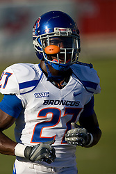 Sep. 18, 2009; Fresno, CA, USA; Boise State Broncos running back Jeremy Avery (27) before the game at Bulldog Stadium. Boise State defeated the Fresno State Bulldogs 51-34.