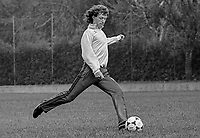 Jimmy Nicholl, footballer, Manchester United FC & N Ireland, at a training session prior to N Ireland's November 1980 game against Portugal at Windsor Park. 19801100399j<br />