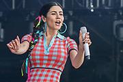 Henham Park, Suffolk, 20 July 2019. Marina plays the Obelisk stage.The 2019 Latitude Festival.