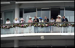Image ©Licensed to i-Images Picture Agency. 07/06/2014. Prince Michael of Kent and Princess Michael of Kent  on the Royal Balcony with HM The Queen and The Duke of Edinburgh  at the Investec 2014 Espom Derby from Paris. Picture by Andrew Parsons / i-Images