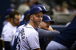 September 29, 2017 - St. Petersburg, Florida, U.S. - WILL VRAGOVIC   |   Times.Tampa Bay Rays relief pitcher Brad Boxberger (26) in the dugout after throwing in the fifth inning of the game between the Baltimore Orioles and the Tampa Bay Rays at Tropicana Field in St. Petersburg, Fla. on Friday, Sept. 29, 2017. (Credit Image: © Will Vragovic/Tampa Bay Times via ZUMA Wire)