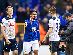 LONDON, ENGLAND - Sunday, March 5, 2017: Everton's Ashley Williams shakes hands with his Wales International team-mate Tottenham Hotspur's Ben Davies after the FA Premier League match at White Hart Lane. (Pic by David Rawcliffe/Propaganda)