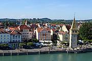 Blick auf Altstadt und Mangturm, Lindau, Bodensee, Bayern, Deutschland