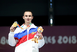BUENOS AIRES, Oct. 8, 2018  Grigorii Shamakov of Russia poses with the gold during the awarding ceremony of the Men's 10m Air Rifle Final at the 2018 Summer Youth Olympic Games in Buenos Aires, capital of Argentina, Oct. 7, 2018. Grigorii Shamakov won the first gold of the games with 249.2 points. (Credit Image: © Li Ming/Xinhua via ZUMA Wire)
