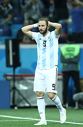 June 21, 2018 - Nizhny Novgorod, Russia - Group D Argentina v Croazia - FIFA World Cup Russia 2018.The disappointment of Gonzalo Higuain (Argentina) at Nizhny Novgorod Stadium, Russia on June 21, 2018. (Credit Image: © Matteo Ciambelli/NurPhoto via ZUMA Press)