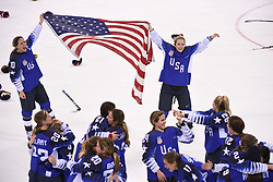 PYEONGCHANG, Feb. 22, 2018  Team USA celebrate after winning women's ice hockey final against Canada at Gangneung Hockey Centre, in Gangneung, South Korea, Feb. 18, 2018. The United States beat Canada in shootout to win the women's ice hockey gold medal at the Winter Olympic Games here on Thursday. (Credit Image: © Ju Huanzong/Xinhua via ZUMA Wire)