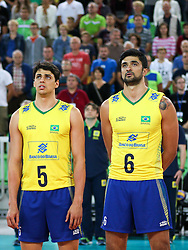 Otavio Henrique Rodrigues Pinto of Brazil and Leandro Vissotto Neves during friendly volleyball match between national teams of Slovenia and Brasil in Arena Stozice on 9. September 2015 in , Ljubljana, Slovenia. Photo by Matic Klansek Velej / Sportida