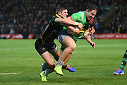 Northampton Saints fly half James Grayson (10) tackles Harlequins centre Michele Campagnaro (23) during the Gallagher Premiership Rugby match between Northampton Saints and Harlequins at Franklins Gardens, Northampton, United Kingdom on 1 November 2019.