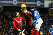Stephen O'Donnell of Kilmarnock wins a header during the Ladbrokes Scottish Premiership match between Rangers and Kilmarnock at Ibrox, Glasgow, Scotland on 31 October 2018.