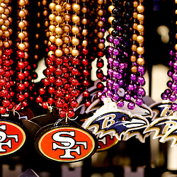 Jan 27, 2013; New Orleans, LA, USA; A detailed view of beads on display inside the NFL Shop at the Convention Center. Super Bowl XLVII between the Baltimore Ravens and the San Francisco 49ers will be played on February 3, 2013 and the Mercedes-Benz Superdome.  Mandatory Credit: Derick E. Hingle-USA TODAY Sports