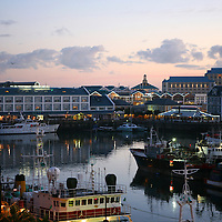 Africa, South Africa, Cape Town. Victoria & Alfred Waterfront at dusk.