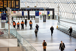 © Licensed to London News Pictures. 23/03/2020. London, UK. At 08:34am passenger numbers are low at London's Waterloo Station as the Coronavirus continues to spread in London. Photo credit: Rob Pinney/LNP