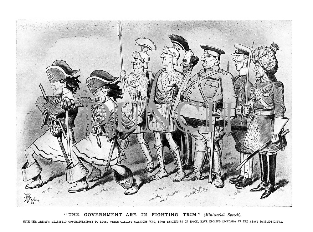 """The government are in fighting trim"" (Ministerial Speech). With the artist's heartfelt congratulations to those other gallant warriors who, from exigencies of space, have escaped inclusion in the artist's above battle-picture. (an Edwardian cartoon shows Winston Churchill and Lloyd George as pirates at the head of a militarised government cabinet)"