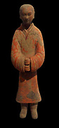 Eastern Han dynasty servant standing (25-220 AD) polychrome terracotta  from China, Shaanxi (province)