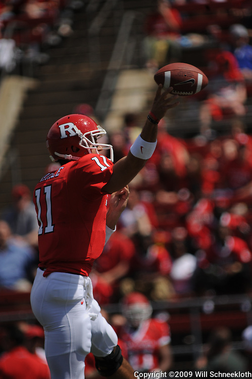 Apr 18, 2009; Piscataway, NJ, USA; Rutgers QB Domenic Natale (11) throws a pass during the first half of Rutgers' Scarlet and White spring football scrimmage.