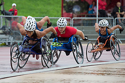 06/08/2017; Dederick, Hannah, T54, USA, Mussinelli, Licia, SUI, Floch, Elizabeth at 2017 World Para Athletics Junior Championships, Nottwil, Switzerland