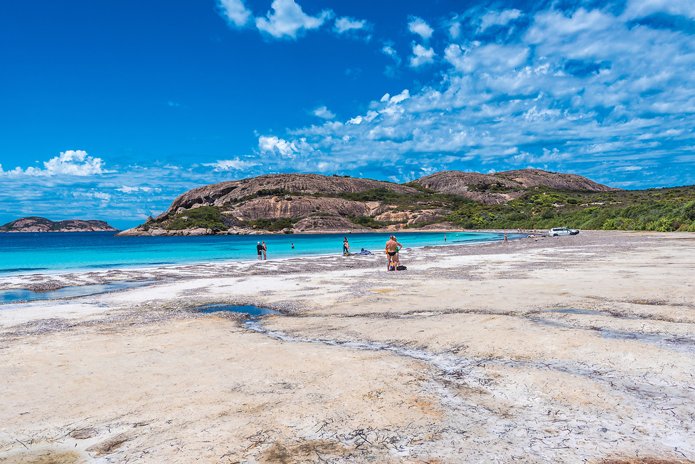 Hell Fire Bay Australia--February 9, 2018. Tourists going for a swim at Hell Fire bay in Australia. Editorial Use Only.