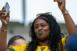 14-06-2019 FRA: Jamaica - Italy, Reims<br /> FIFA Women's World Cup France group C match between Jamaica and Italy at Stade Auguste Delaune / Jamaica fan, support